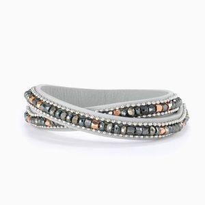 Stella & Dot Rose, Slate, Silver Wrap bracelet